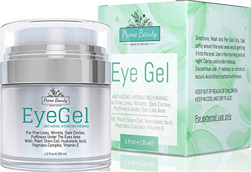 Prime Beauty - Eye Gel - Puffiness, Wrinkles, Bags, Fine Lines, Dark Circles Under and Around Eyes With Hyaluronic Acid, Jojoba Oil, Peptides, Organic Anti Aging Blend for Men & Women