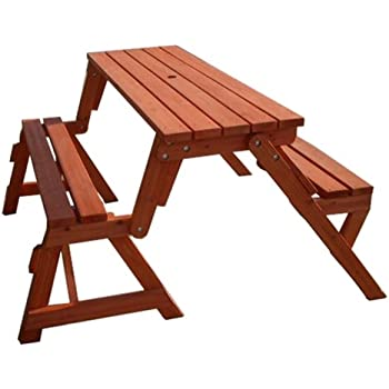 leisure season folding picnic table and bench solid wood decay resistant. Black Bedroom Furniture Sets. Home Design Ideas