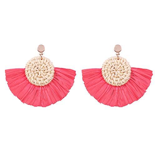 Rattan Hoop Earrings for Women - Bohemian Wicker Earrings Oval - Handmake Lafite Braided Drop Dangle Earrings, Gift for Sister, Wife, Mother or Daily Wear (Rattan Earrings with Red Fan ()