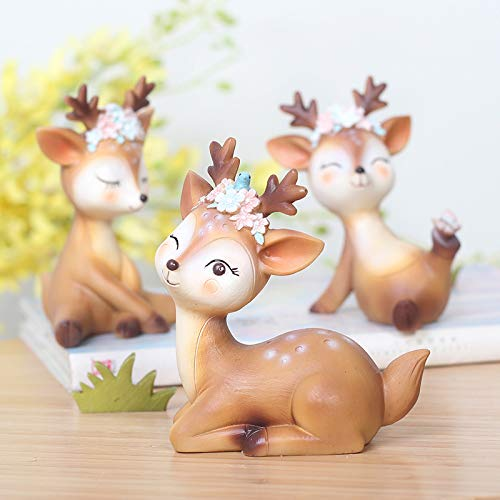 Youfui Cake Topper Party Supplies Cake Decoration for Girls, Birthday Party, Baby Shower & Wedding Home Decor Car Interior Decoration (4pcs Deers Eden) by Youfui (Image #3)