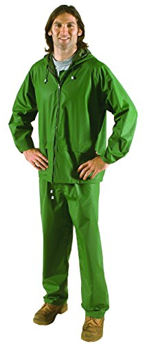 (Galeton 7955-L-GR 7955 Repel Rainwear PVC On Nylon Flexible Rain Suit, Green, Large)