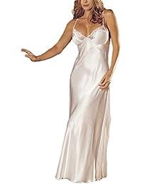 Women Babydoll Sexy Long Chemise Lingerie Nightie Full Slips Lace Satin Straps Dress Sleepwear Nightgown Nightwear