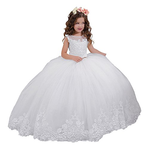 White Vintage Lace Embellished Princess Communion Dress 0-12 Year Old White Size 2 -