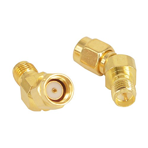 FPV Antenna Adapter RP SMA Male to RP SMA Female 45 Degree Antenna Adapter Gold Plated Connector for FPV Race RX5808 Fatshark Goggles Pack of 2