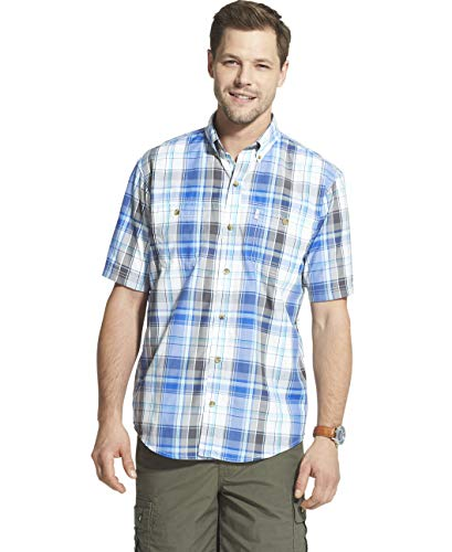 (G.H. Bass & Co. Men's Explorer Short Sleeve Fishing Shirt Plaid Button Pocket, Stellar, XX-Large)