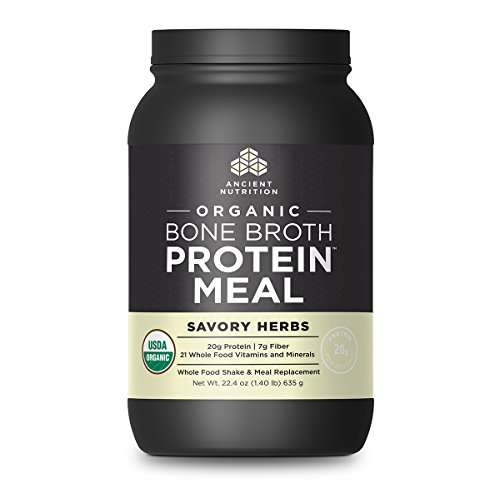 Ancient Nutrition Organic Bone Broth Protein Meal, Savory Herb Flavor, 15 Serving Size - Organic, Gut-Friendly, Paleo-Friendly, Protein Meal Replacement (Best Homemade Protein Shakes For Building Muscle)
