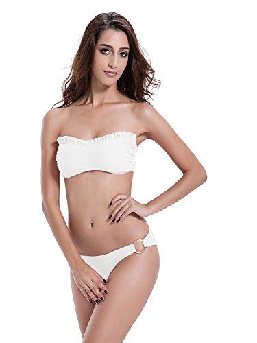 zeraca Mujer Junta Tórica inferior Ruffle Bikini Set blanco