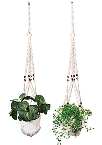 Miljive Macrame Plant Hangers Long - 2 pcs, 36 to 46 Inches Adjustable Length, Thicker Rope (4 mm), No Tassel, with Extender, Indoor Outdoor Home Décor, for Medium and Large Pots (Pots not Included)