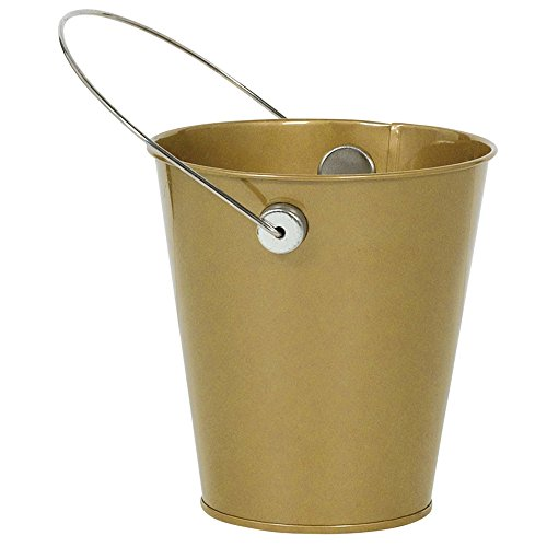 Amscan 432589.19 Gold Decorative Metal Mini Bucket with Handle Children's Temporary tattoos, 4 1/2