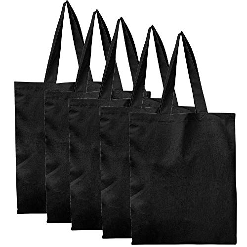 BagzDepot Blank 100% Cotton Fabric Reusable Tote Bags - Set of 5 - Cloth Bags for School, Tote Bags for Grocery, Shopping, Fun Crafts Promotional Items - Eco-Friendly Reusable Bags (Black)