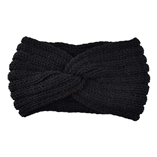 Cross Crochet (Lamdoo 2019 New Solid Crochet Knitting Woolen Headbands Winter Women Bohemia Weaving Cross Headbands Popular Hairbands Vintage Elastic Printed Head Wrap Stretchy Moisture Hairband Black)
