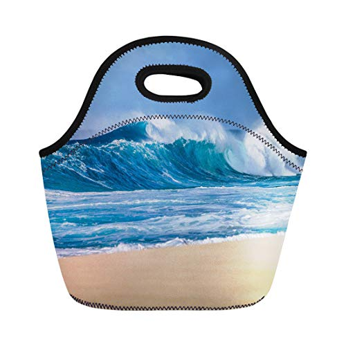 Semtomn Lunch Tote Bag Big Breaking Ocean Wave on Sandy Beach North Shore Reusable Neoprene Insulated Thermal Outdoor Picnic Lunchbox for Men Women