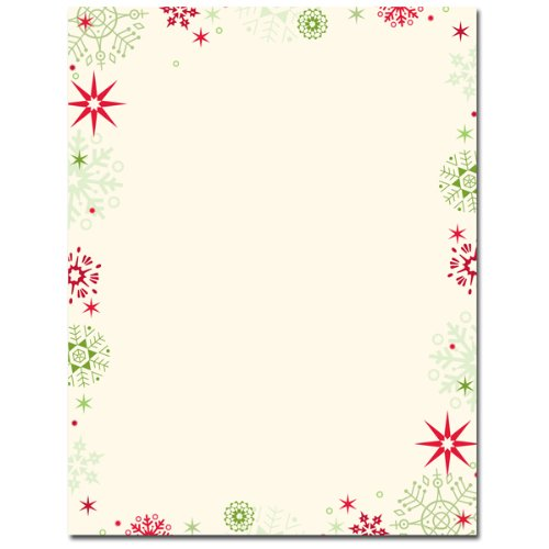 Red & Green Snowflakes Border Christmas Holiday Printer Paper