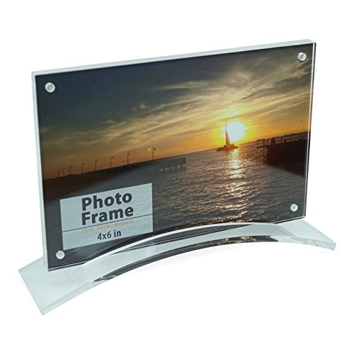 Acrylic Photo Frame with Curved Stand (4x6), Clear Acrylic Picture Frame for Home and Office (4x6, Clear) ()