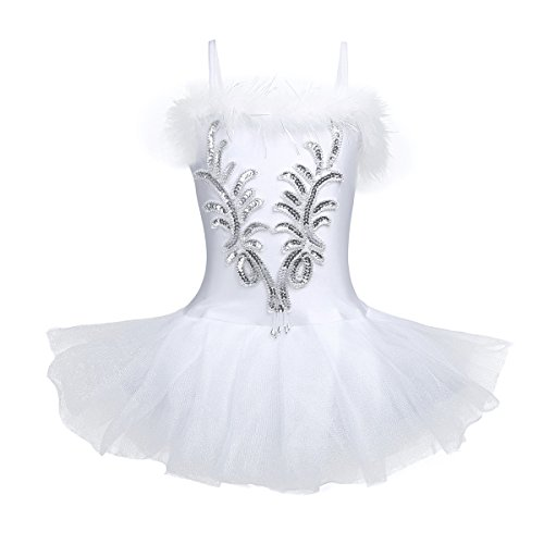 YiZYiF Girls Spaghetti Strap Sequined Gymnastic Ballet Dance Tutu Dress Leotard Skirt with Long Gloves & Hair Clip White (Children's Dance Costumes For Competition)