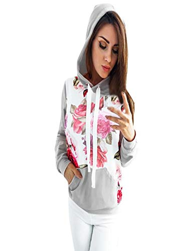 Clearance!Youngh New Women Floral Print Cute Jumper Hooded Sweatshirt Loose Long Sleeve Hoodie Sweatshirt Casual Fashion Hooded Pullover Tops Blouse by Youngh Top