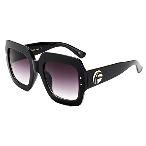 ROYAL GIRL Oversized Square Sunglasses Women Multi Tinted Frame Fashion Modern Shades (C4 Black Frame, - Acetate Sunglass