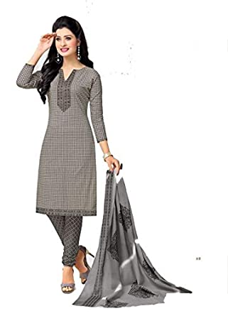 23129a6fdf8 Gogor Cotton Printed Latest New Collection Unstitched Chudidar Suit   Amazon.in  Clothing   Accessories