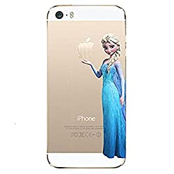 Princess Eating/ Frozen Elsa Holding Logo Clear Transparent Case For Apple Iphone 6 Plus(5.5-Inch)