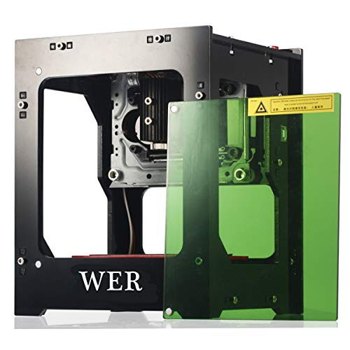 WER Laser Engraver Printer, Upgrated Version 1500mW Portable Household Art Craft DIY Mini Engraving Printing USB Wireless Bluetooth4.0 for iOS/Android/Windows PC with Alloy Shell Frame