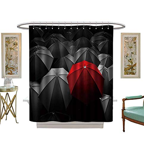 (Miki Da Shower Curtains Waterproof Red Umbrella Stand Out from The Crowd of Many Black and White Umbrellas Fabric Bathroom Decor Set with Hooks Size:W48 x L72 inch)