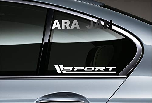 Sport CAR Racing Decal Sticker Logo Window Emblem (Pair) (White) ()