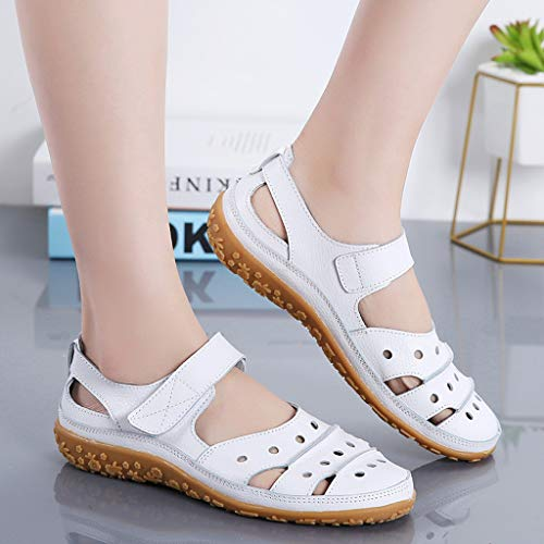 cb7c631df4888 Women's Slip On Loafers Hollow Out Breathable Roman Sandals Casual Comfort  Walking Flats Shoes (White, 5.5 M US)