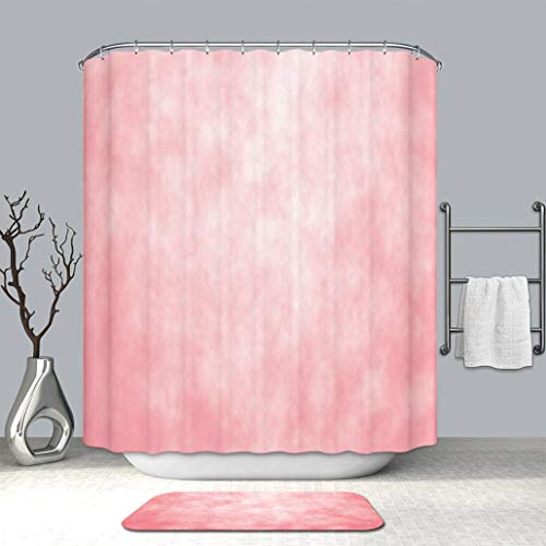 3d print Multi Style Shower curtain And bath mat Coral Pale Spring Watercolor Design Girlish Tie Dye Abstract Color Texture Image Coral Fabric Bathroom Curtains with Non-Slip Floor Doormat Rugs (Tie Dye Toothbrush)