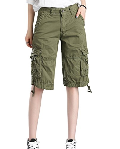HOW'ON Women's Casual Loose Fit Twill Bermuda Cargo Shorts Multi Pocket Straight Shorts Army Green XL by HOW'ON
