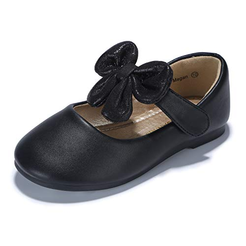 PANDANINJIA Toddler/Little Kid Megan Flower Girl Dress Shoes School Uniform Black Mary Jane Ballet -