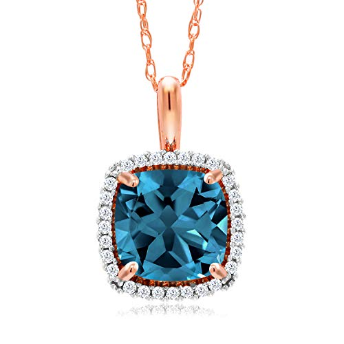 Gem Stone King 10K Rose Gold London Blue Topaz and White Diamond Pendant Necklace 2.05 Ctw Cushion Cut with 18 Inch Chain (Rose Gold London Blue Topaz)