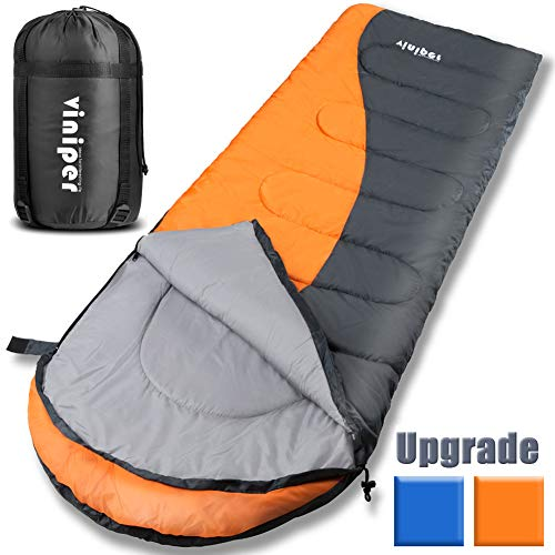 viniper Sleeping Bag, Comfort, Waterproof and Lightweight Envelope Sleeping Bag with Compression Sack Perfect for 4 Season Traveling, Camping, Hiking, Outdoor Fit Kid Women Men (Orange + Gray)