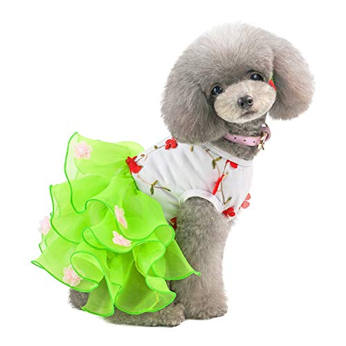 (PanDaDa Puppy Dog Dress, Thin Cute Floral Princess Ribbon Summer Bubble Pleated Skirt for Small and Medium Dogs Cats Flowers Dress Wedding Costume for Dog Girls)