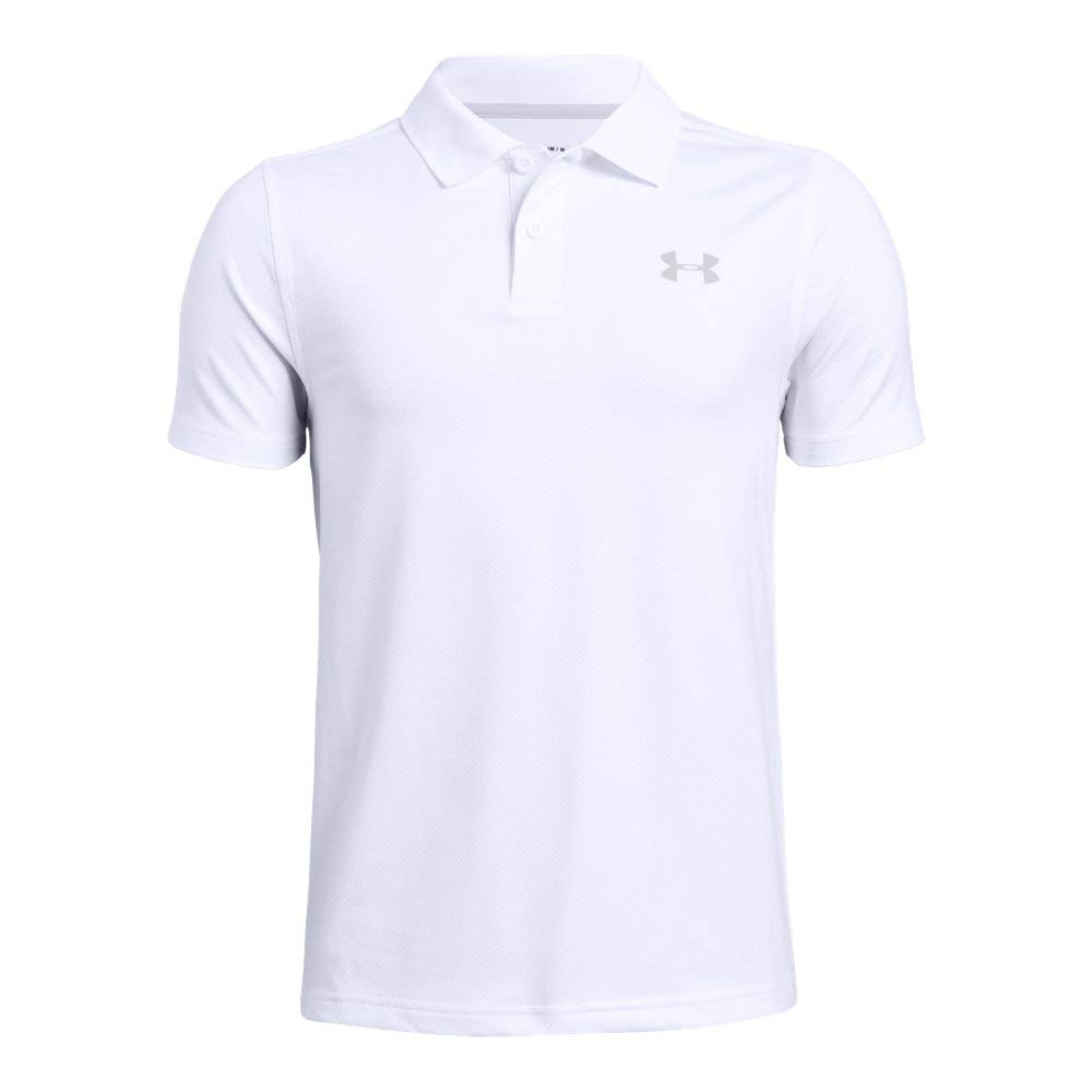 Under Armour boys Performance 2.0 Golf Polo, White (100)/Mod Gray, Youth Small