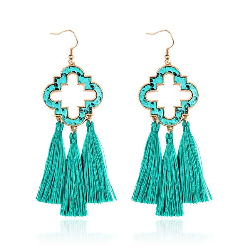 RIAH FASHION Bohemian Fan Fringe Tassel Drop Earrings - Embellished Thread Statement Round Half Circle, Clover, Teardrop Leatherette, Camellia Flower Dangles (Quatrefoil Chandelier - Turquoise)