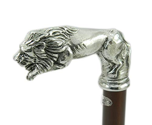 (Walking sticks, |BLACK FRIDAY|. Solid Metal pewter wood Handle Lion Black Brown medical ornament women men a great gift CAVAGNINI Ceremony old people personalized Vintage Shipped in 8 days from italy)