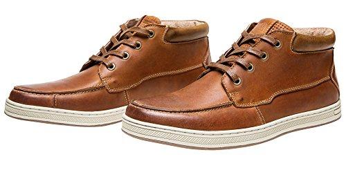 Shenbo Mens Höga Toppar Retro Äkta Läder Mode Sneakers Brun