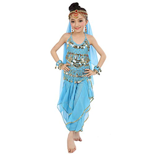 Maylong Girls Loose Pants Belly Dance Outfit Halloween Costume DW07 (Medium, Sky -