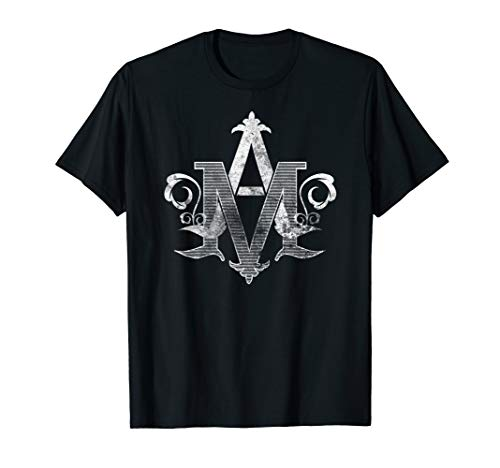 Distressed Vintage Auspice Maria Virgin Mary Monogram TShirt