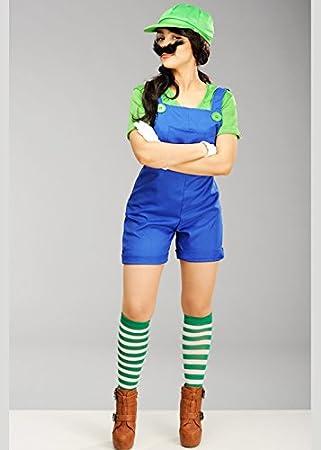Magic Box Int Damen Super Mario Style Luigi Klempner Kostüm Ml Uk