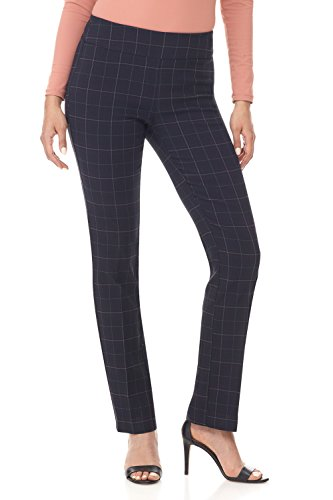 Stretch Plaid Pants - Rekucci Women's Ease in to Comfort Straight Leg Pant with Tummy Control (8,Navy Tartan)