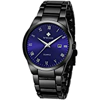 WWOOR Store Men's Watch Analog Quartz Waterproof Watch with Date Fashion Business Stainless Steel Casual Wrist Watches (Black) (Blue)