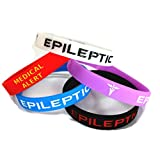 5X Epileptic Epilepsy Wristband Medical Awareness Alert Bracelet Glow in The Dark, Red, Black, Purple, Blue, Seizure