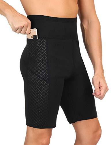 [해외]HuntDream 남성용 슬리밍 사우나 팬츠 체중 감량을 위한 핫 스웨트 네오프렌 체형 보정 스웨트 카프리 반바지 / Men`s Weight Loss Sauna Hot Sweat Thermo Shorts Body Shaper Athletic Yoga Pants Gym Tummy Fat Burner Slimming