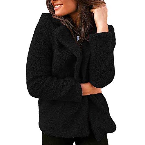 Ivory Jacket Wool Blend (KIKOY Women Lapel Wool Blend Winter Solid Suit Blazer Jacket Coat Short Outwear)