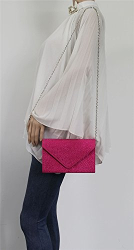 Clutch Prom Pink Diamante Party Womens SWANKYSWANS Envelope Fuschia Suede Sidney Bag xYZwPqpT