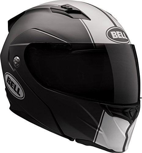 Bell Revolver Evo Modular Motorcycle Helmet (Rally Matte Black/White, Large) (White Inc Shield)