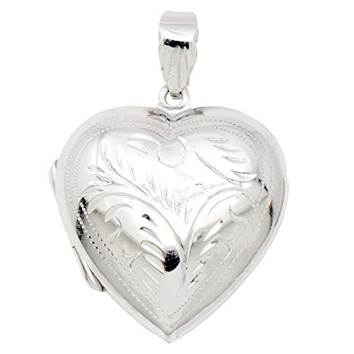 - Medium Sterling Silver Etched Heart Locket Pendant, 25mm