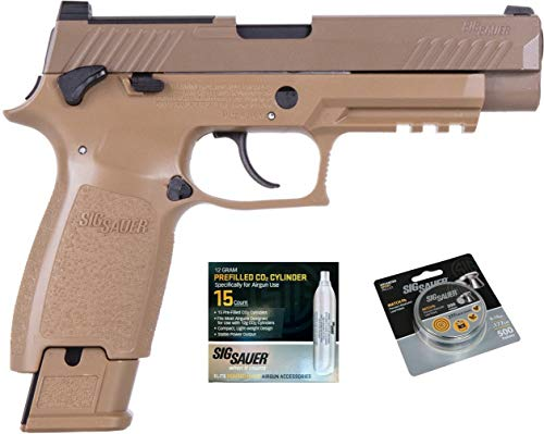 SIG Sauer M17 Air Pistol with CO2 12 Gram (15 Pack) and 500 Lead Pellets Bundle