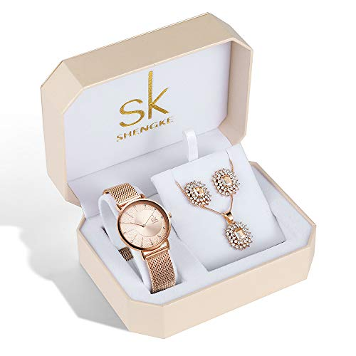 Women Quartz Wrist Watches with Rose Gold Earring and Necklace 3 Sets for Christmas Gifts (0093 RG RG) from SHENGKE SK